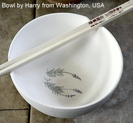lavender ceramic rice bowl