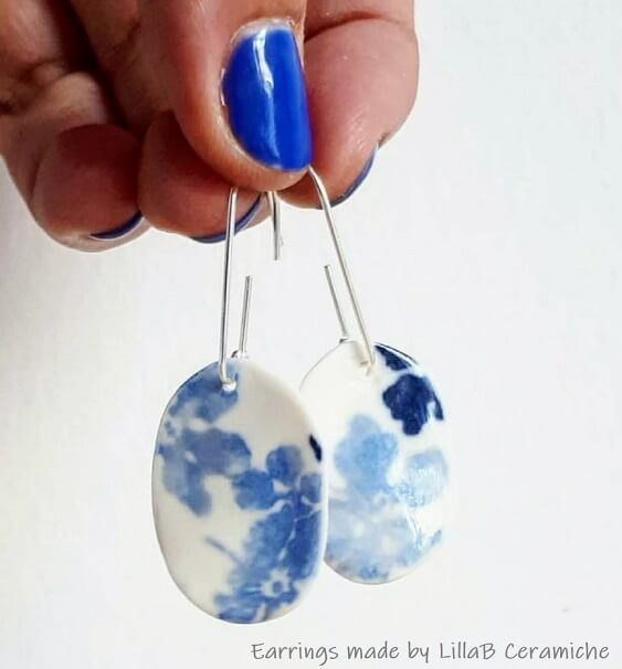 blue transfer paper earrings