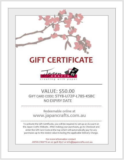 Japan Crafts Gift Certificate