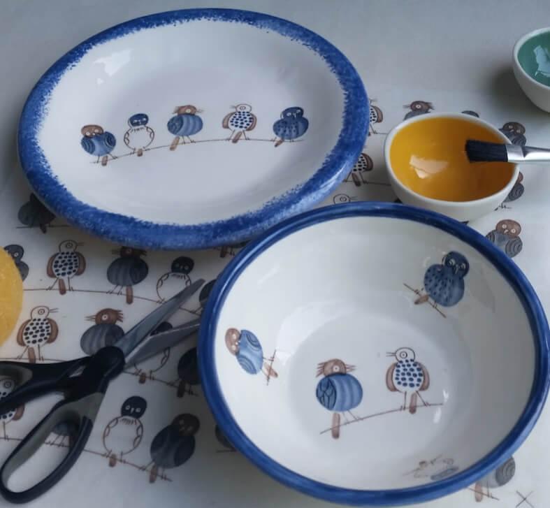 ceramic decal birds tpc8