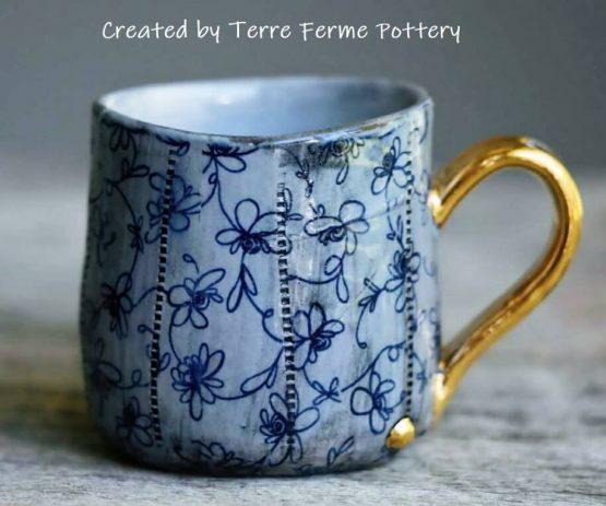 TPB24 designer flowers blue ceramic transfer