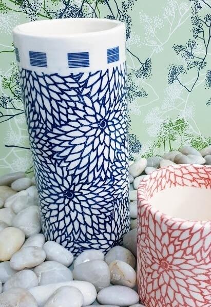 dahlia flower ceramic transfer