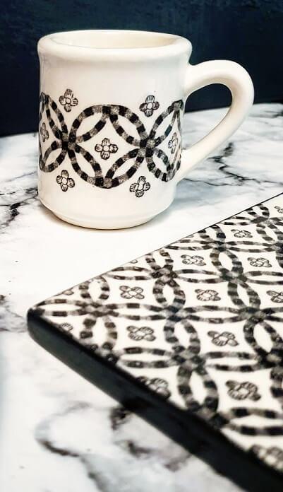 ceramic transfer tile fresco black