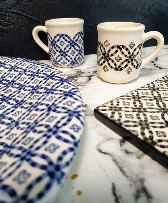 ceramic transfer tiles fresco blue