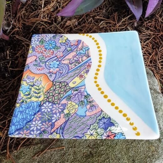 6 colour garden ceramic transfer plate