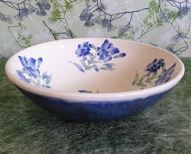 lilies blue ceramic transfer