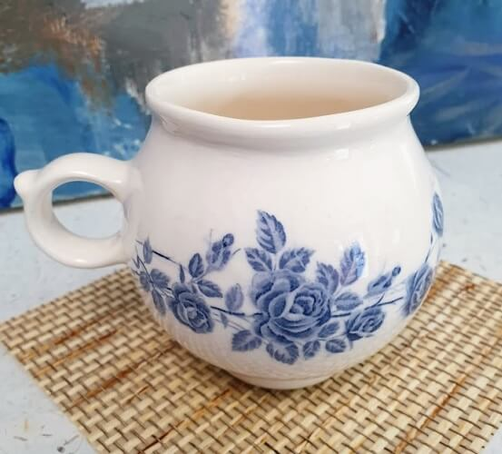 ceramic transfer rose stem cup