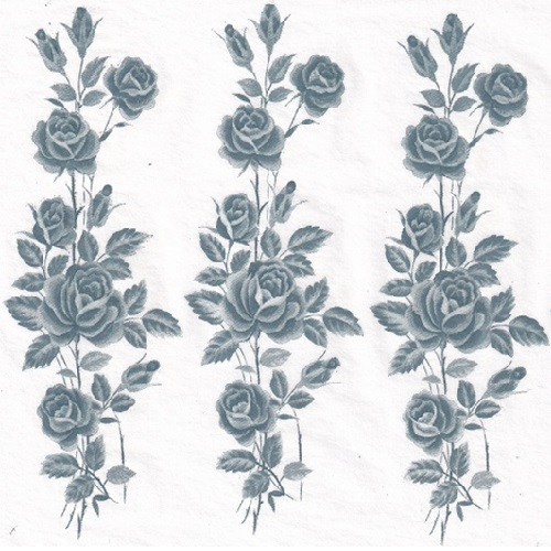 ceramic transfer rose stem